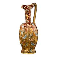 hand painted amberina glass water pitcher