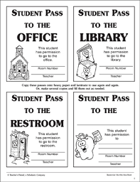Hallway Pass Template Student Hall Passes Printable Student Passes
