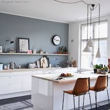 Kitchen No Wall Cabinets Grey Wall With White Cabinets And Warm Brown Chairs Crisp And