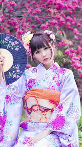 Beautiful Japanese girl in the garden ...
