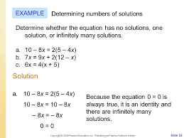 22 solution example determining numbers of solutions determine whether the equation has no solutions one solution