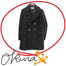 station wagon quiche p coat men old clothes black black size m wool polyester long sleeves pea coat vanquish p coat men postage distinction deep