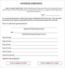 Example Of An Agreement 15 Sample Letters Of Agreement Writing Letters Formats