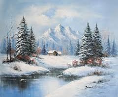 górski pejzaż zimowy | Piękne obrazy olejne