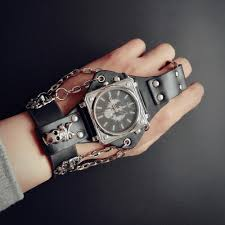 online buy whole 50mm watch from 50mm watch whole rs ot02 men punk skull black leather bracelet wrist watches 50mm wide band big dial watch