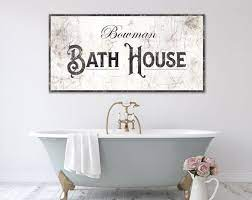 vintage farmhouse bathroom wall