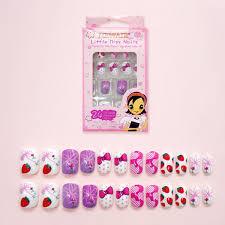 <b>Lovely Strawberry Pattern Fake</b> Finger Nails Children Disposable ...
