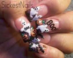 My Halloween Acrylic Nails:Cute 3d Ghost,Pumpkins,Bats #6 - YouTube