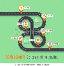 Road Concept Timeline Infographic Chart Flat Style