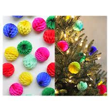 Paper Flower Christmas Tree 10pcs 2 Inch 5cm Tissue Paper Flower Ball Garlands Honeycomb Lantern