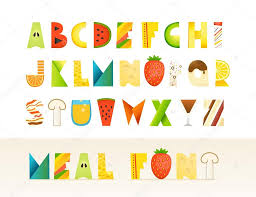 different food colorful creative alphabet isolated letters on w different food colorful creative alphabet isolated letters on w stock illustration