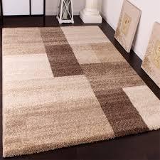 heavy woven carpet modern rug in beige brown cream 001