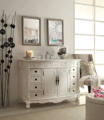 Adelina 48 inch Antique White Bathroom Vanity, White marble counter top  will add an upscale