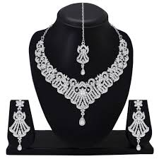 details about statement indian silver plated wedding diamond necklace set bridal jewelry party