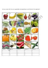 Complete The Fruit And Vegetable Chart Esl Worksheet By
