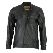 men s leather motorcycle shirt jac