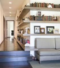 corner shelf idea long hallway wooden floating shelf