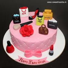 ping makeup theme cake with 3d ping bags makeup accessories perfume bottle