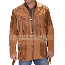 men s western suede fringe jacket