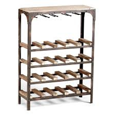 wood metal wine rack. Plain Rack Gallatin Industrial Metal Rustic Wood Narrow Console Wine Rack  Kathy Kuo  Home  Intended B