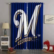 3d Printed Milwaukee Brewers Style Custom Living Room Curtains Cw3089