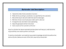 Bartender Job Description Resume Musiccityspiritsandcocktail Com