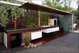 Kitchen Room:Modern Outdoor Kitchens Granite Countertop Refrigerator Under  Wooden Covering Design Ideas Contemporary Images