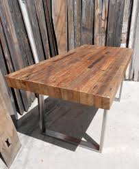 Inspiring Ideas For Dining Room Decoration Using Rectangular Reclaimed Wood  Dining Table And Square Chrome Double