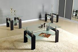3pc black chrome glass top occasional coffee table set w 2 end tables zbmu328