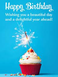 Sparkling Cupcake Blue Happy Birthday Card Birthday Greeting
