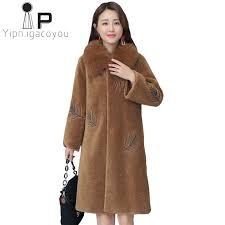 fake fur jacket women sheepskin coat plus size embroidered warm female overcoat previous
