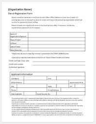 organization membership form template dance registration forms for ms word word excel templates