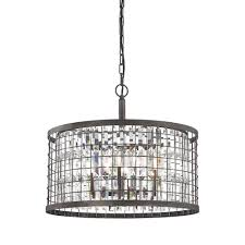 titan lighting nadina 6 light silverdust iron chandelier with metal and crystal shade