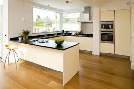 Kitchen Island : White Cabinets Brown Wood Floor Decor For L ...