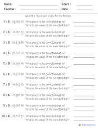 Place and Value for Money Worksheets | Tutoring Printouts ...