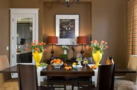 Modern Dining Room Decorating With White, Yellow, Green And Brown Colors