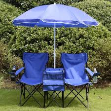 outdoor camping chair. Portable Folding Picnic Set Double Chair+Umbrella+Table Blue Outdoor Furniture Cooler Beach Camping Chair