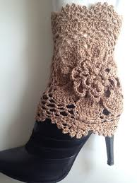 crochet cream gold sparkle boot cuffs with flower leg warmers spring fashion accessories on