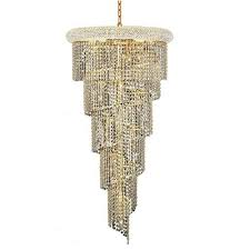elegant lighting spiral gold eighteen light 22 inch chandelier with royal cut clear crystal
