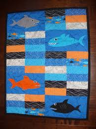shark quilt ideas | Orange, Blue and Black Shark Nursery Quilt ... & shark quilt ideas | Orange, Blue and Black Shark Nursery Quilt - HANDMADE  and HAND Adamdwight.com