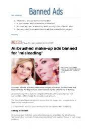english worksheets airbrushed make up ads banned for misleading reading activity