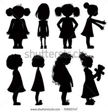 Little Girl Silhouette Group With 77 Items