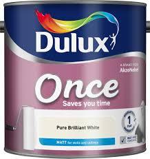 Dulux One Coat Colour Chart Dulux Once Matt Emulsion Paint For Walls And Ceilings Pure Brilliant White 2 5l