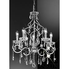 wonderful silver and crystal chandeliers impressive franklite fl chiffon chandelier p zoom living gorgeous silver and crystal chandeliers
