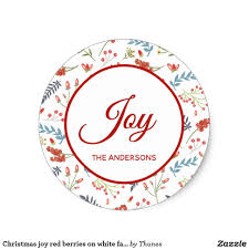 Classic Sticker Design Christmas Joy Red Berries On White Family Name Classic Round