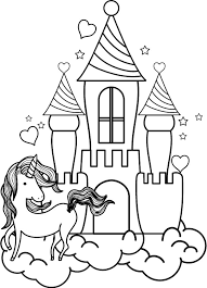 Enter youe email address to recevie coloring pages in your email daily! Unicorn And The Castle Coloring Page Free Printable Princess Pages Cinderella Elsa Colouring Dragon Pictures To Oguchionyewu