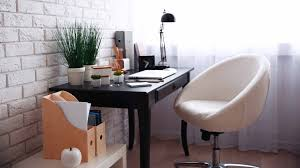 home office work table. WORKSPACE : 14 Home Office Design Ideas Toward Comfy \u0026 Productive Workspace Workdesk Workchair IMac Table Lamp Clock Chandelier Wall Art Bookcase Wooden Work 0
