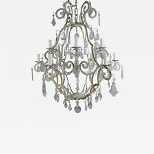 listings furniture lighting chandeliers and pendants italian painted twelve light wrought iron crystal chandelier 1930s