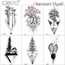 Iorikyo черный геометрический старой сосны временные татуировки для