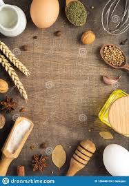 Bakery Ingredients On Wooden Background Stock Photo Image Of Bake